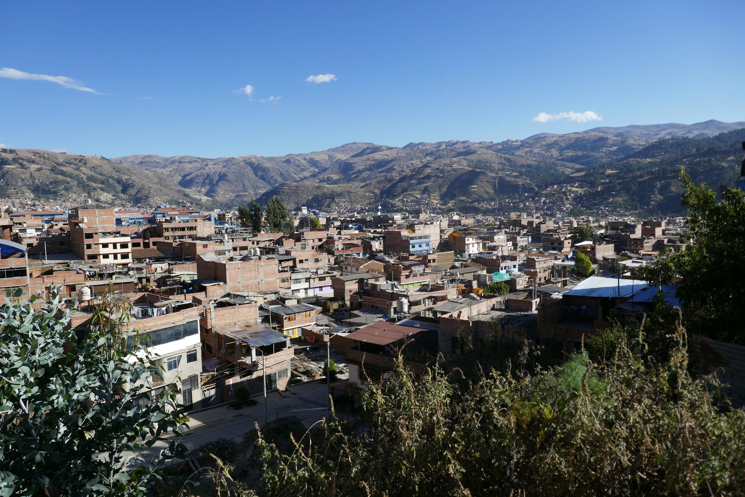 The view as I descended back into the town of Huaraz, Peru