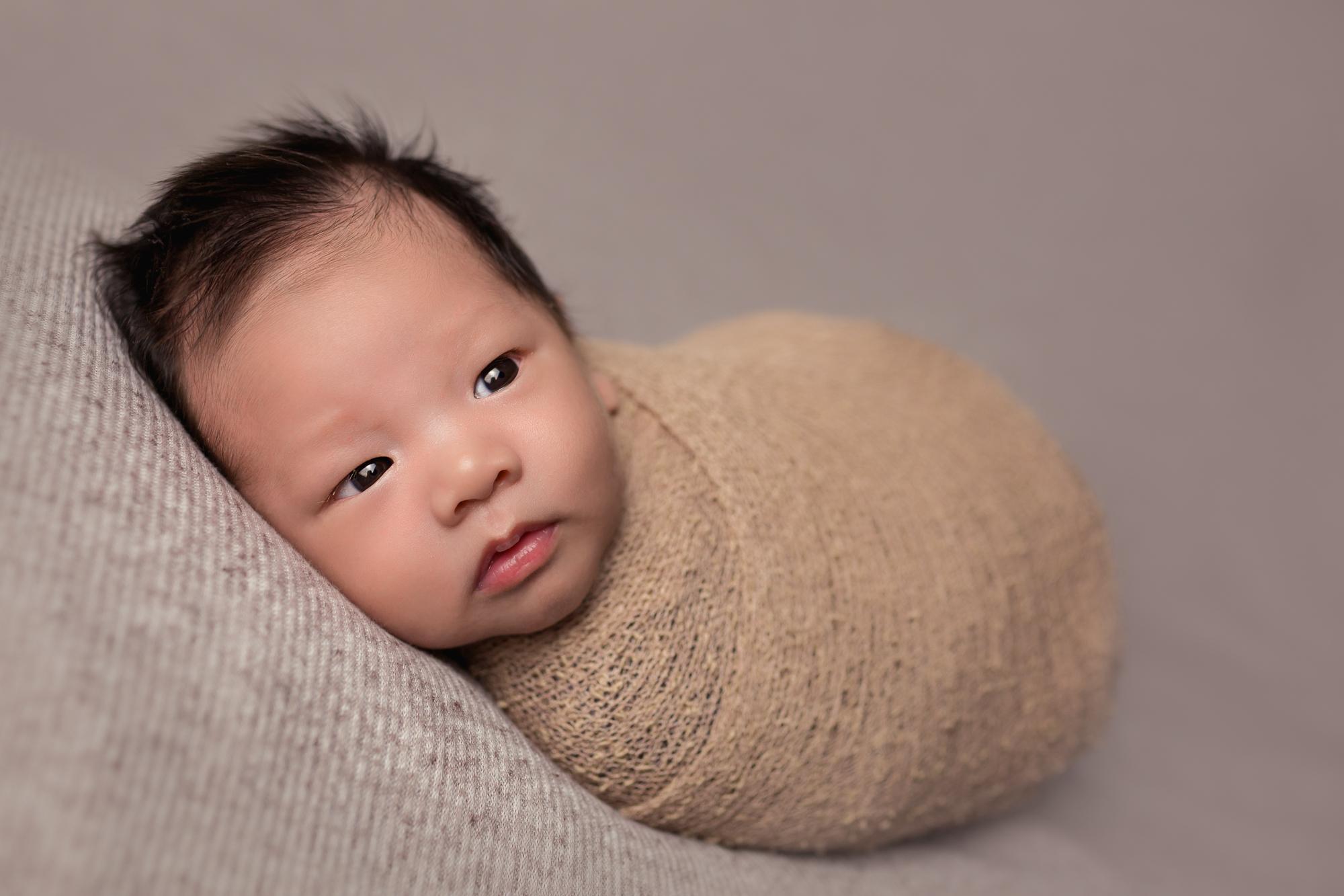 Wide awake Baby Rome during Newborn Pictures in San Diego, CA by Studio Freyja Newborns