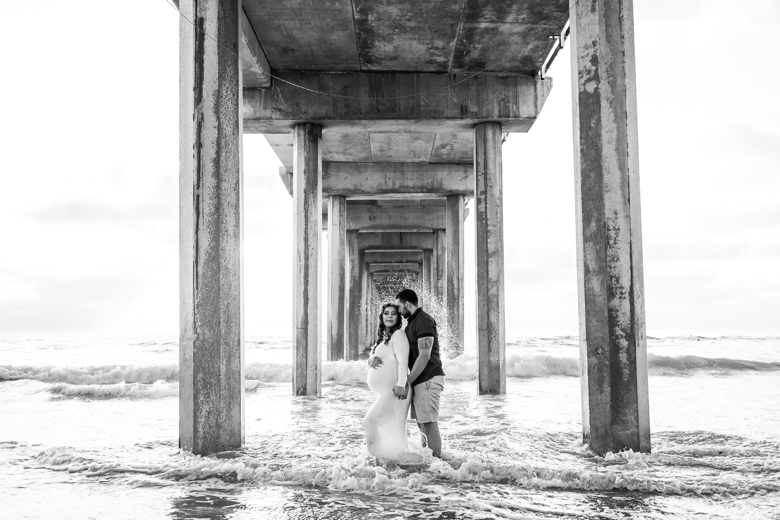 Black and White Pier Beach Maternity Session in La Jolla Shores