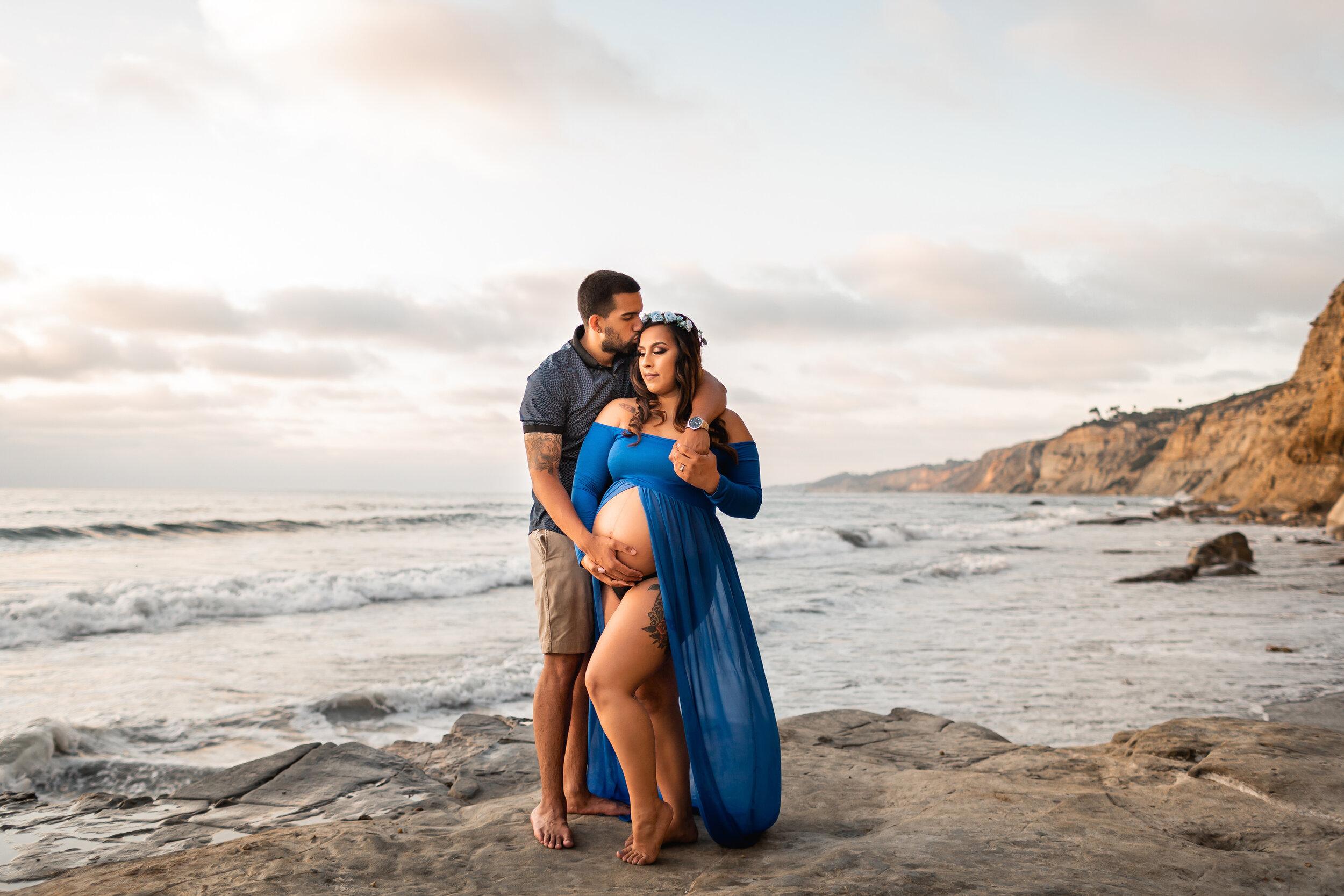 Maternity Beach Session on Rocks in San Diego, CA