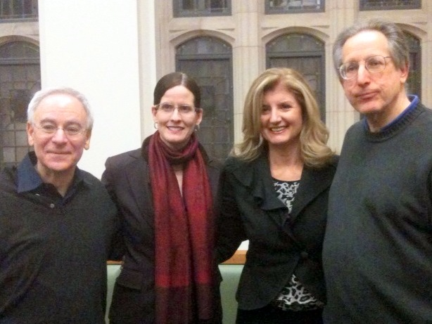 Dean Robert Post, Laura DeNardis, Ariana Huffington, and Jack Balkin at Yale Law School.