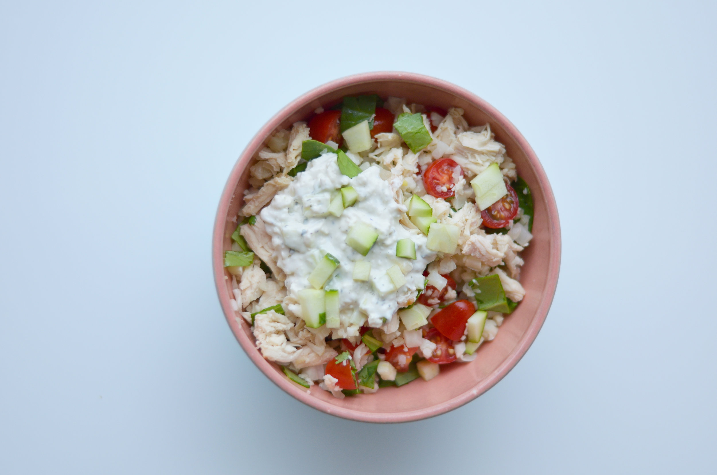 Tzatziki Cauliflower Rice Bowl with Chicken / CarolynWilliamsRD.com
