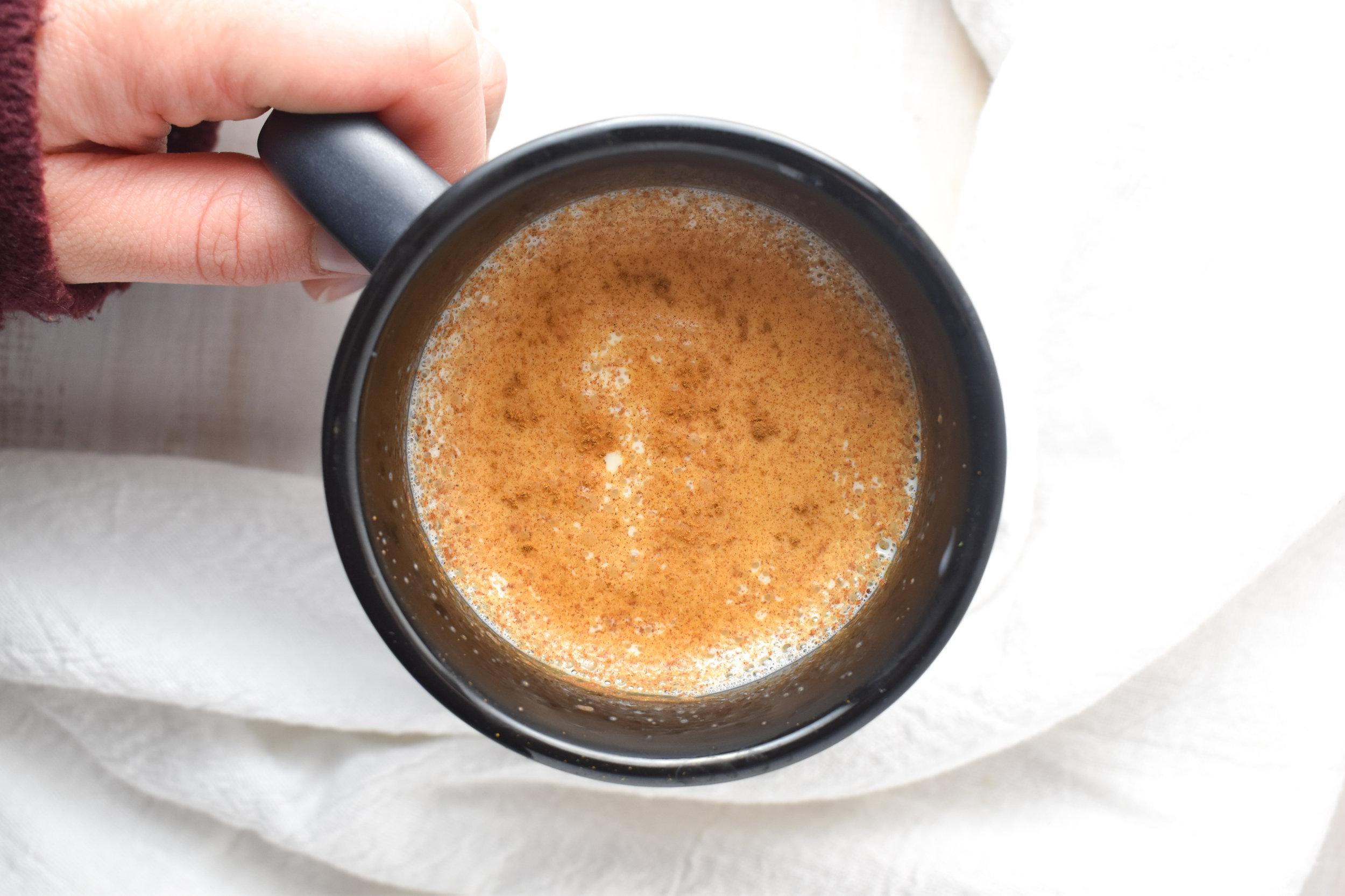 Cinnamon Bulletproof Latte Hand
