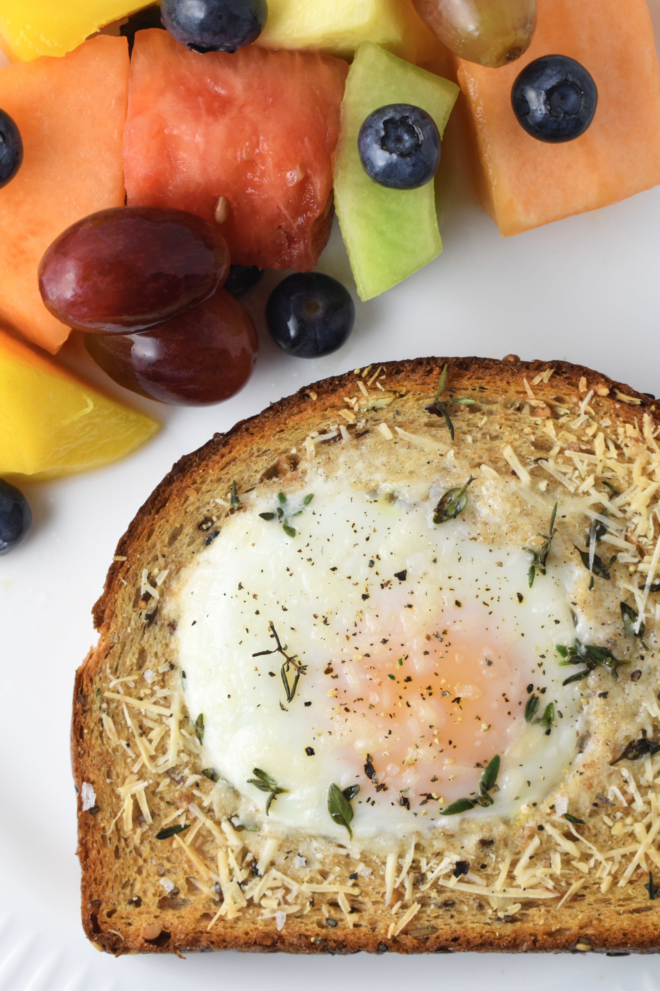 10-Minute Dinner: Sheet Pan Egg-In-A-Hole / CarolynWilliamsRD.com