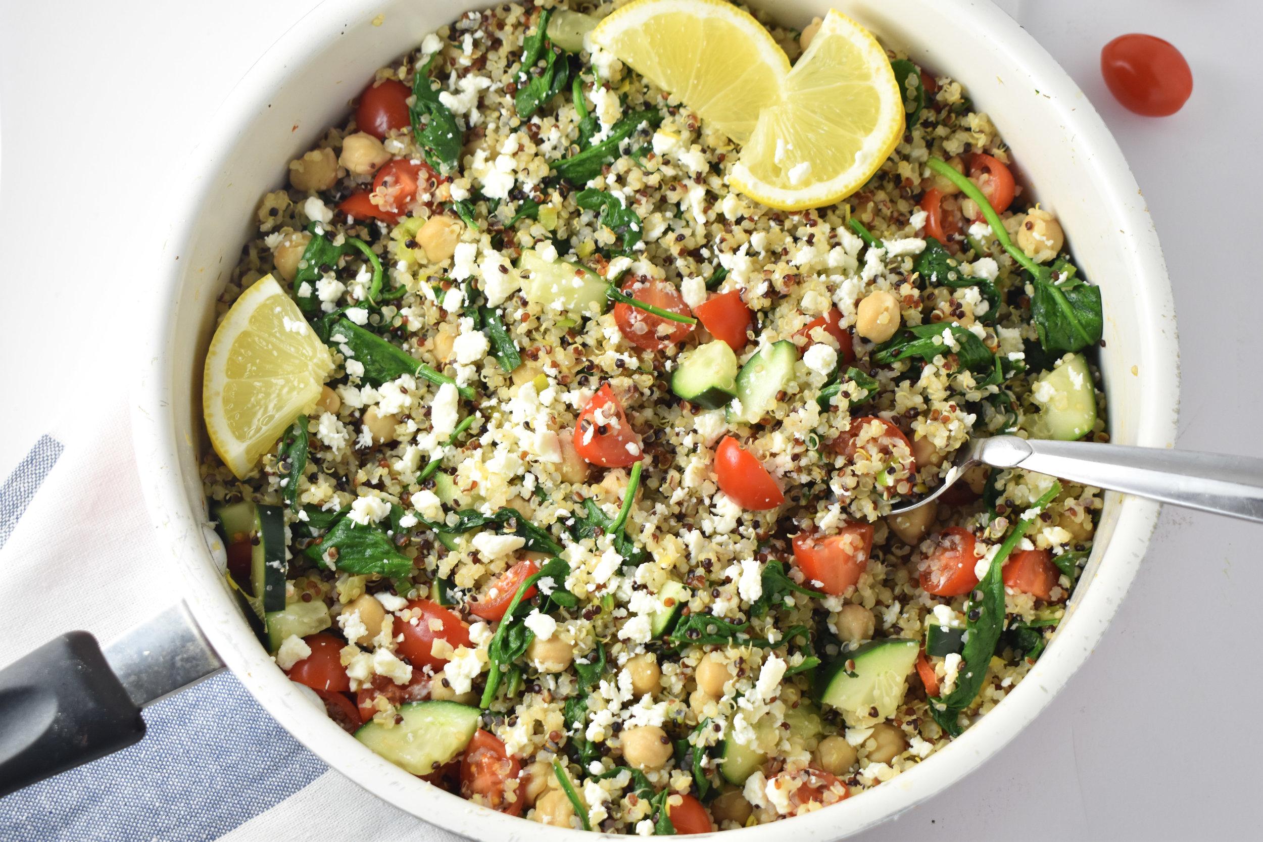 10-Minute Dinners: Mediterranean Fried Quinoa / CarolynWilliamsRD.com