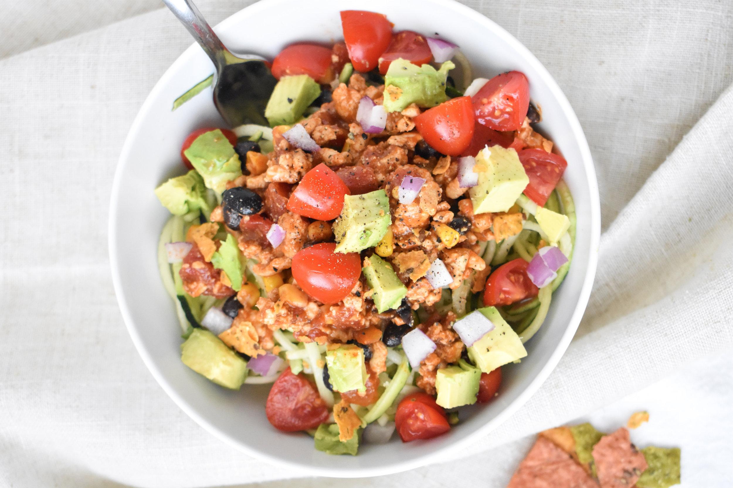 Turkey Taco Zucchini Bowl / CarolynWilliamsRD.com