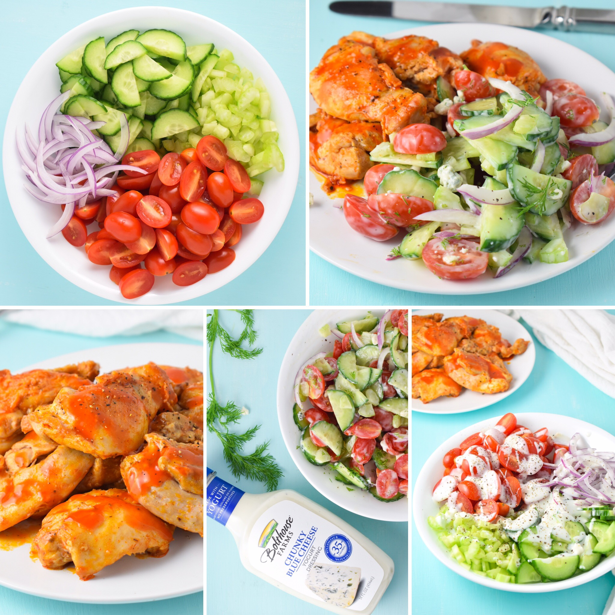 Buffalo Chicken and Blue Cheese Salad Collage // CarolynWilliamsRD.com