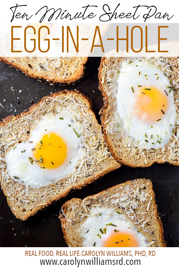Ten-Minute Sheet Pan Egg-in-a-Hole / CarolynWilliamsRD.com