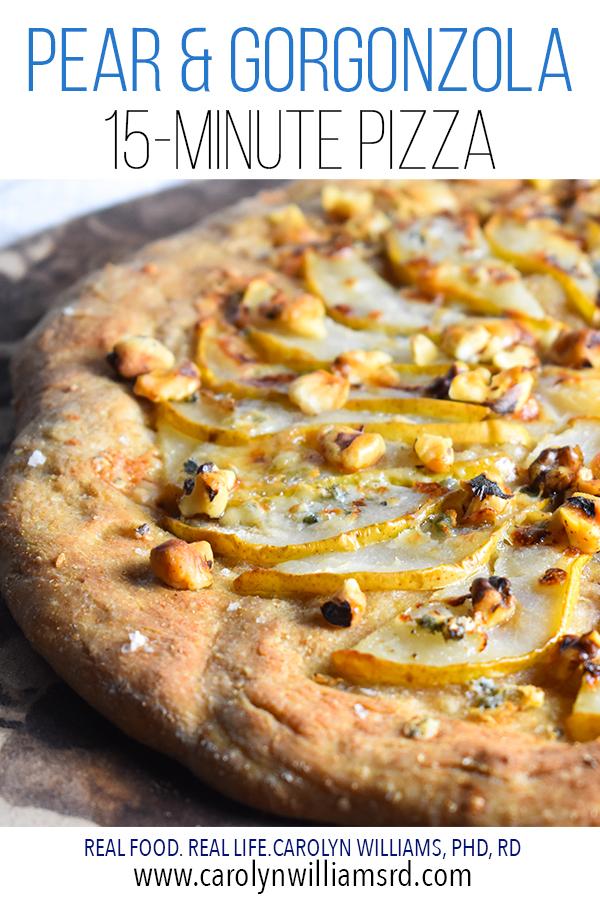 Pear Gorgonzola Pizza / CarolynWilliamsRD.com