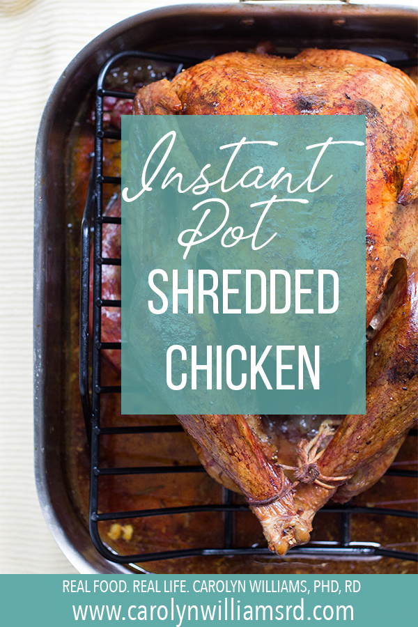 Instant Pot Shredded Chicken // CarolynWilliamsRD.com