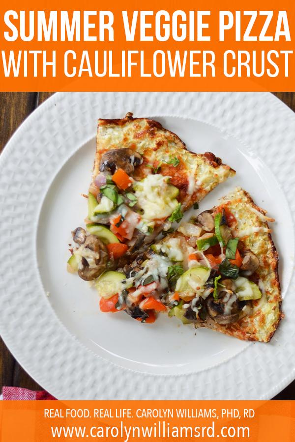 Summer Veggie Pizza with Cauliflower Crust // CarolynWilliamsRD.com