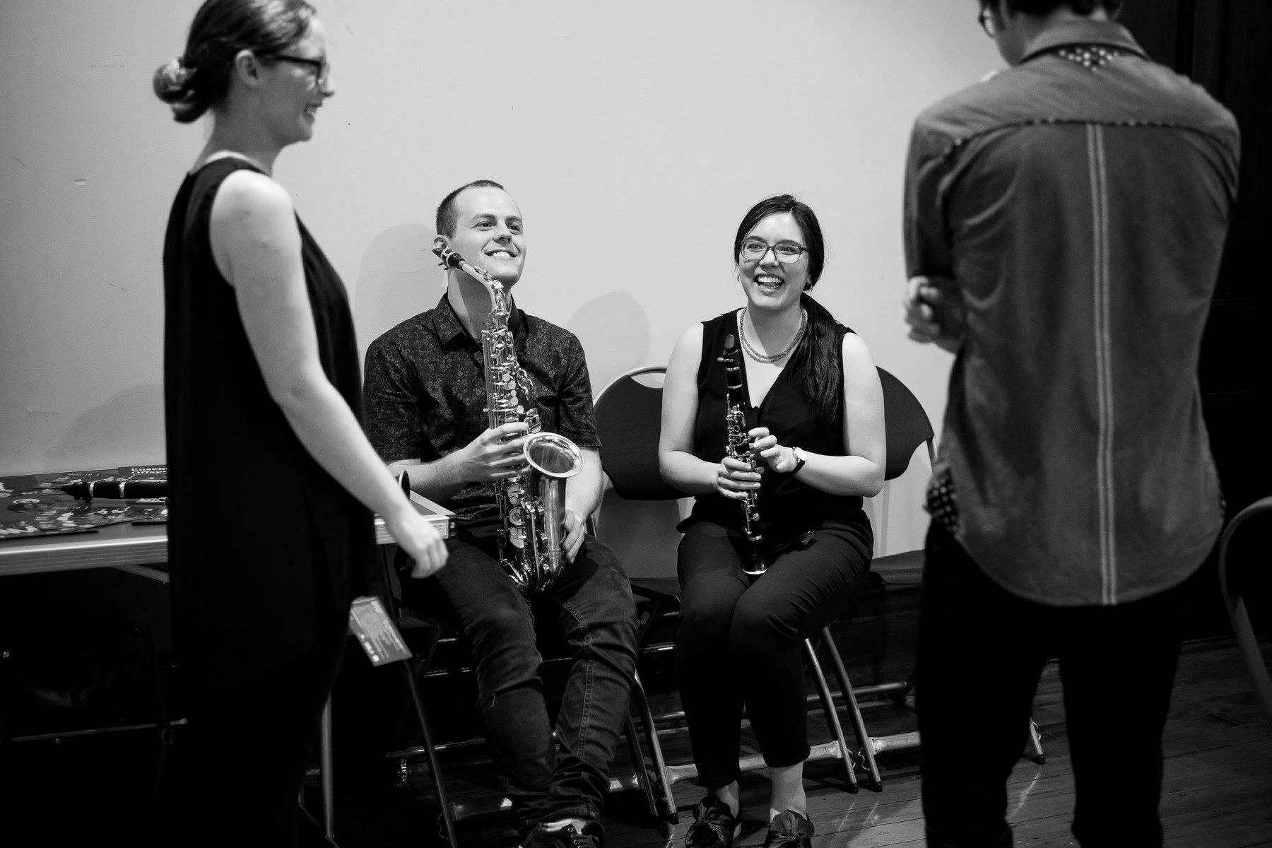 Myself, Josten Myburgh, Georgina Oakes & Jakob Bragg at Ensemble Offspring's Hatched Summer School, December 2018.
