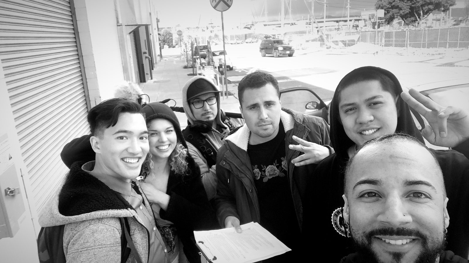 Wrap on  Perfume . From left to right: James Aaron Oh (Jerry),Ashley Trudaine (Terry), Martin Sanchez (Field Audio Engineer), Michael Palmetto (Director/ Writer), Tristan Custodio (DP/ Camera Op), Kyle Beasly (2nd AD)