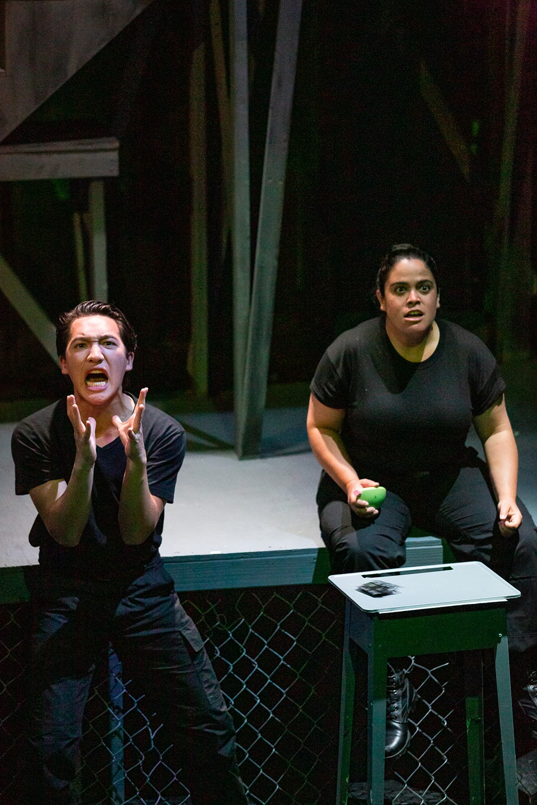 Holden (Me) and Black (Melanie Marshall) in Auantum Dragon Theatre's production of  Fahrenheit 451