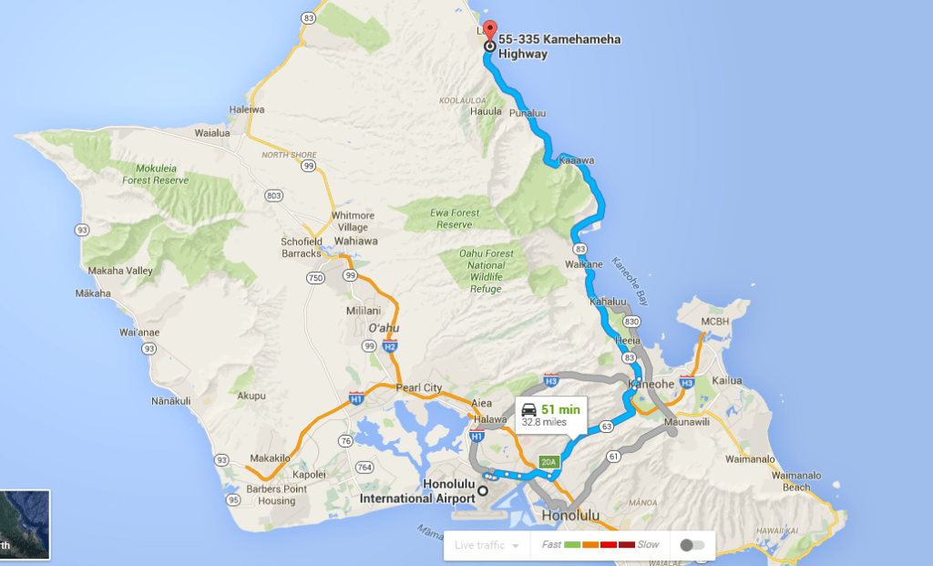Google Map of Oahu, Hawaii- From Honolulu International Airport to state park