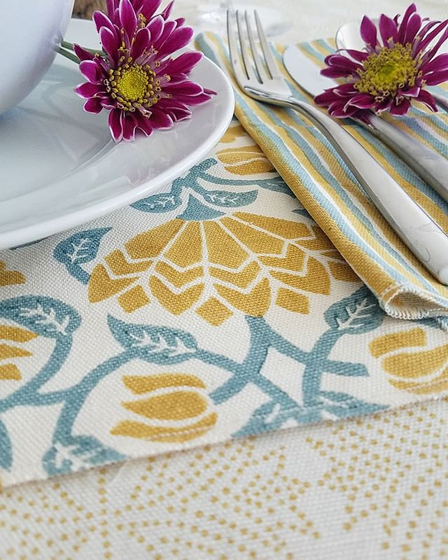 Weekend brunch vibes with our PADMINI block print collection. Hand block printed on 100% cotton.  Color: ochre/duck-egg. .  #fabric #textiles #blockprint #brunch #interiordesign #design #tablescapes #saturday #weekendfeels