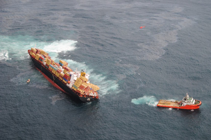 Aerial view of the Rena aground and spilling oil Tauranga NZ