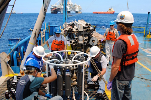 Sampling water quality from Seabird rosette Gulf of Mexico Deepwater Horizon