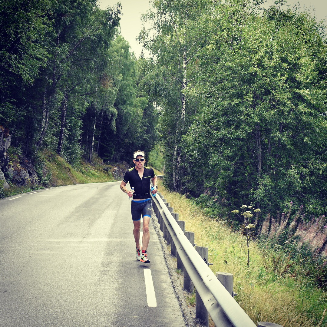 Feeling good on the Norseman run course