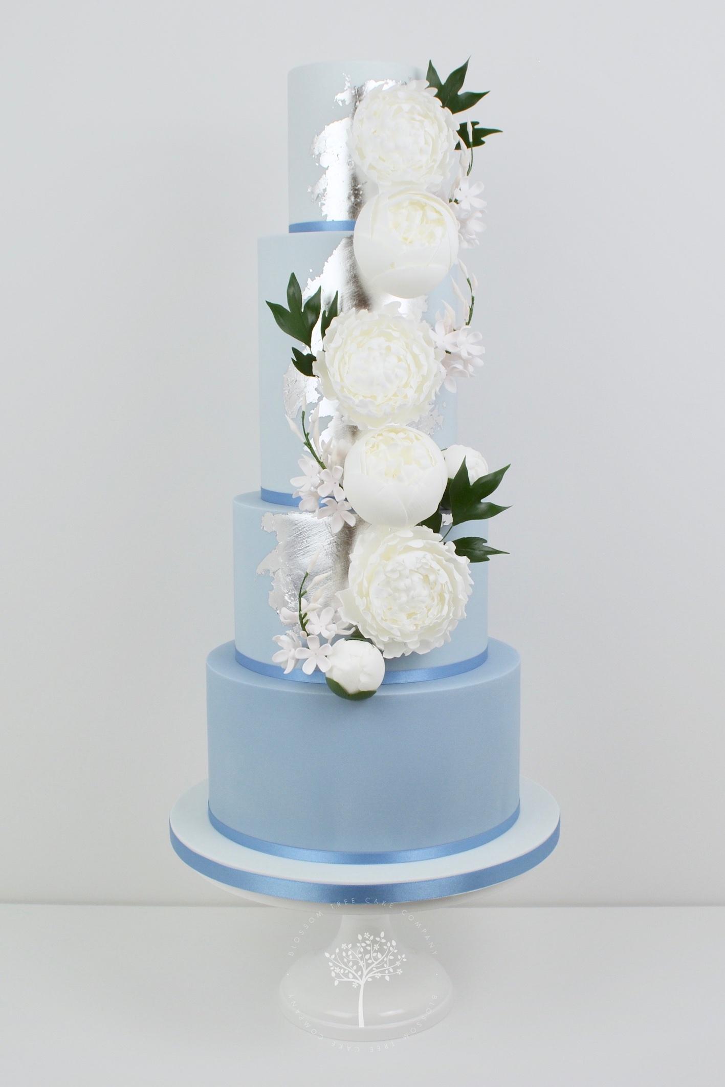 Dusky Blue and Peony wedding cake by Blossom Tree Cake Company Harrogate North Yorkshire.jpg
