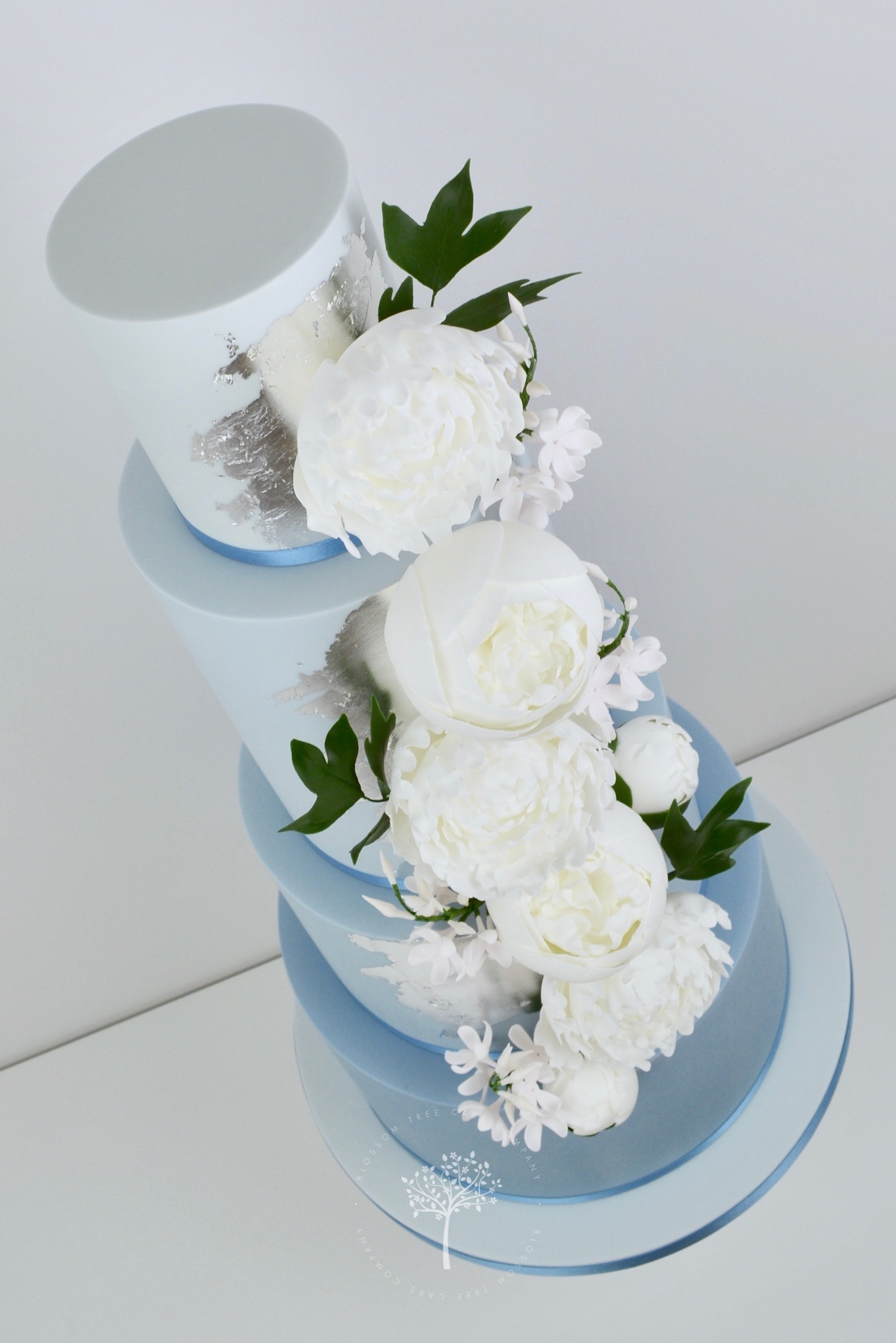 Dusky Blue and Peony wedding cake by Blossom Tree Cake Company Harrogate North Yorkshire - angle.jpg