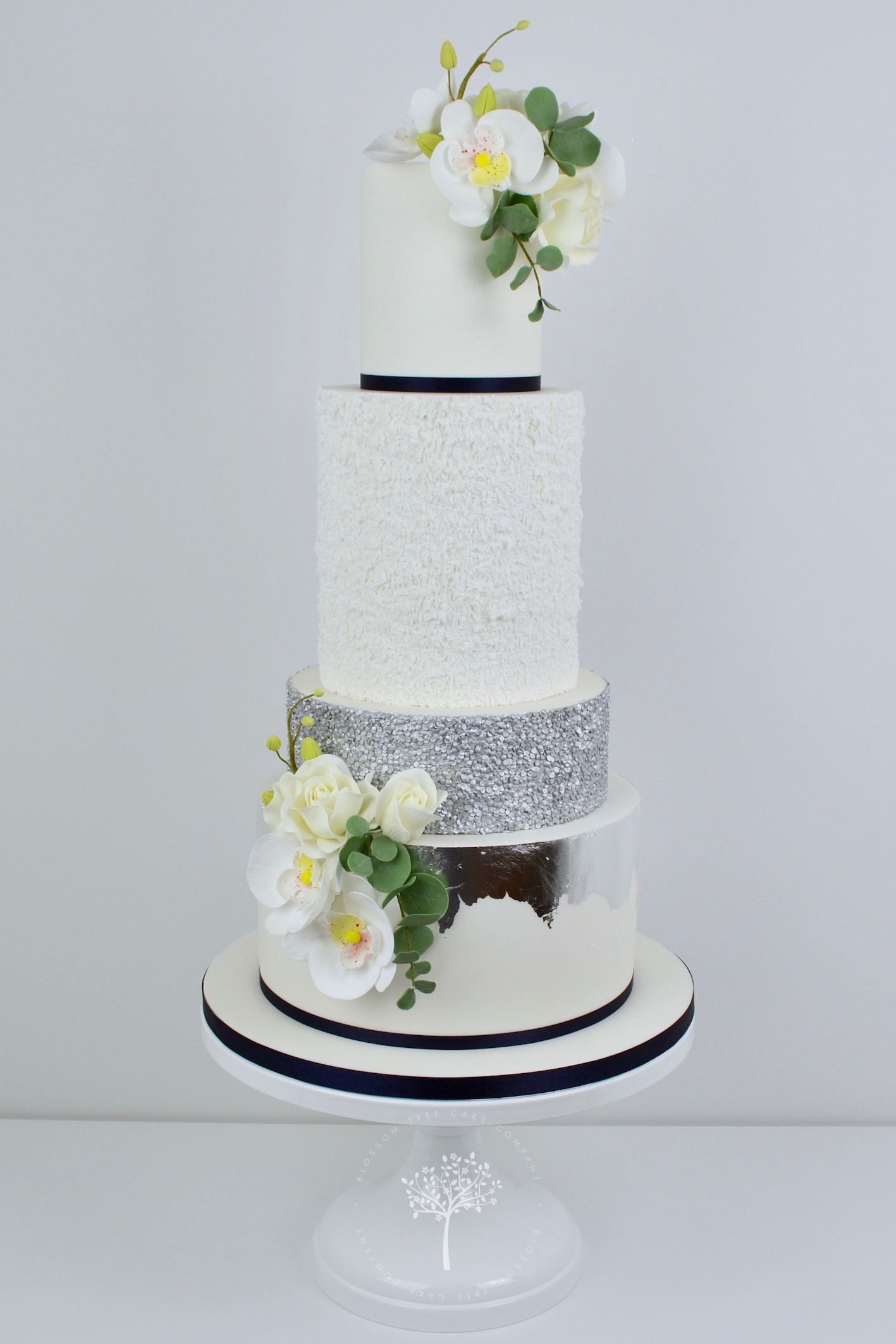 Silver Orchids wedding cake by Blossom Tree Cake Company Harrogate North Yorkshire.jpg