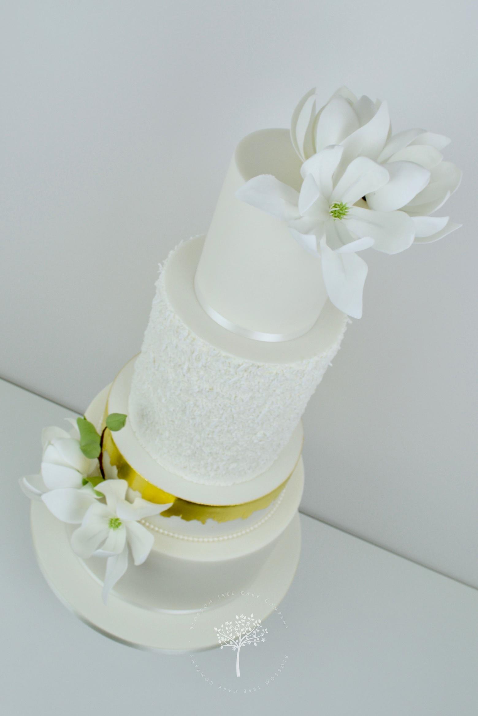 White Magnolias wedding cake by Blossom Tree Cake Company Harrogate North Yorkshire - angle.jpg