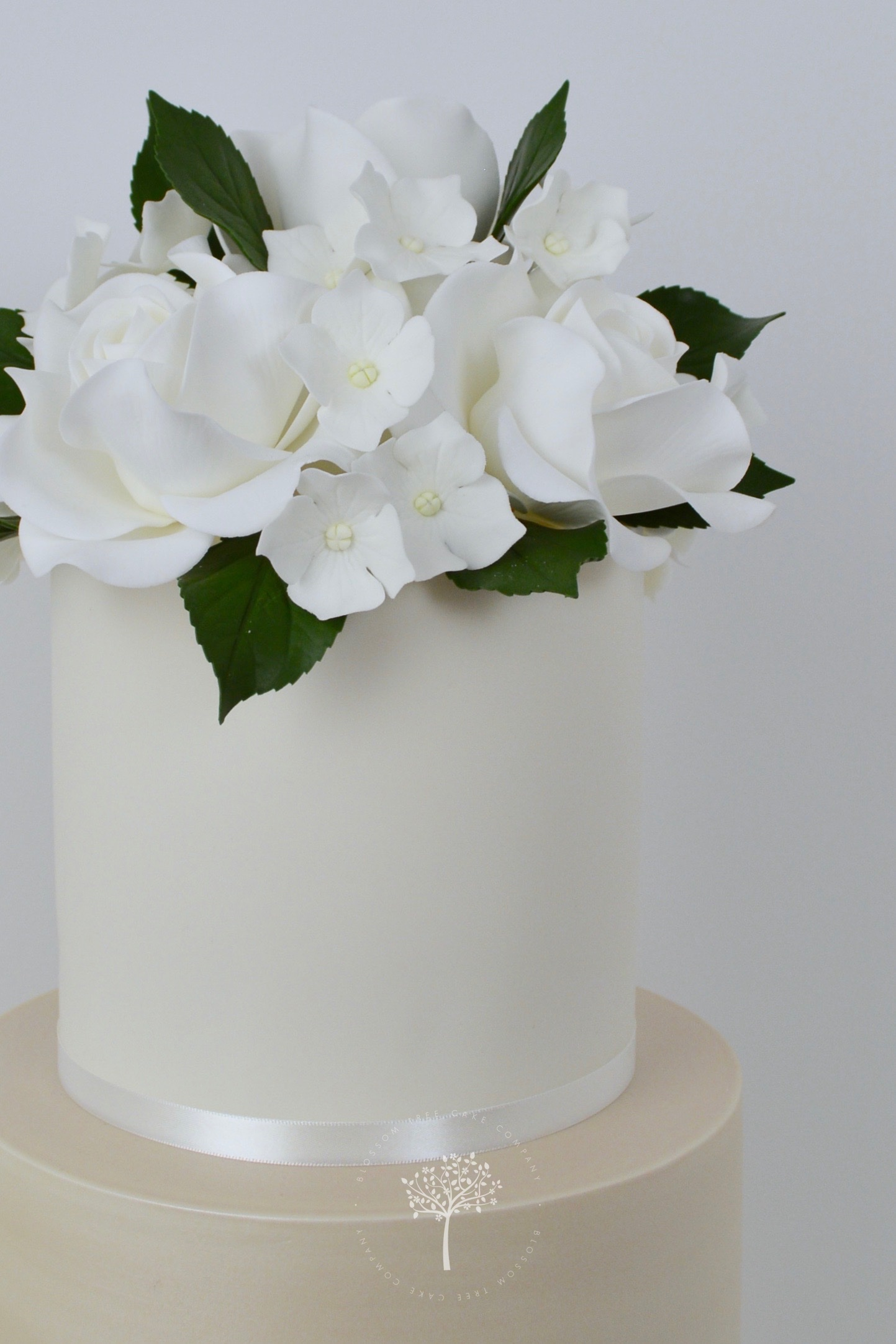Champagne and White Roses wedding cake by Blossom Tree Cake Company Harrogate North Yorkshire - top sugar roses.jpg