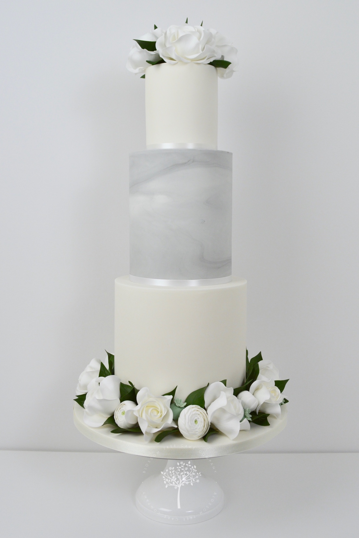 White Roses and Ranunculus wedding cake by Blossom Tree Cake Company Harrogate North Yorkshire.jpg