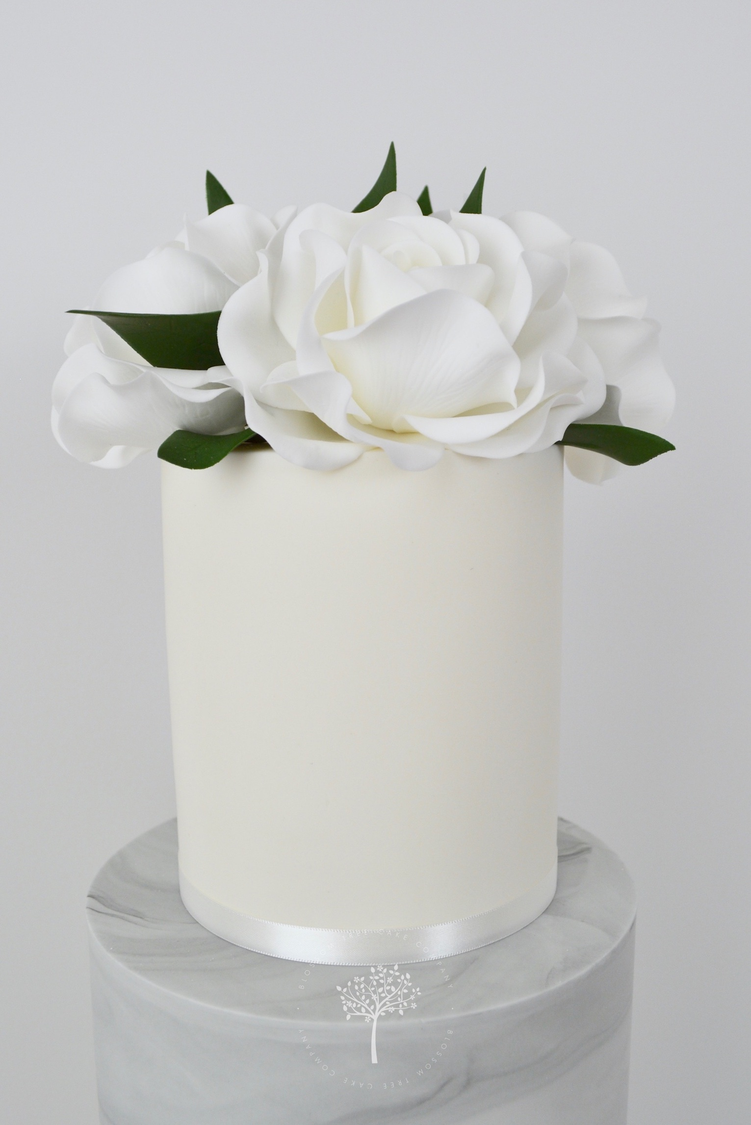 White Roses and Ranunculus wedding cake by Blossom Tree Cake Company Harrogate North Yorkshire - sugar roses.jpg