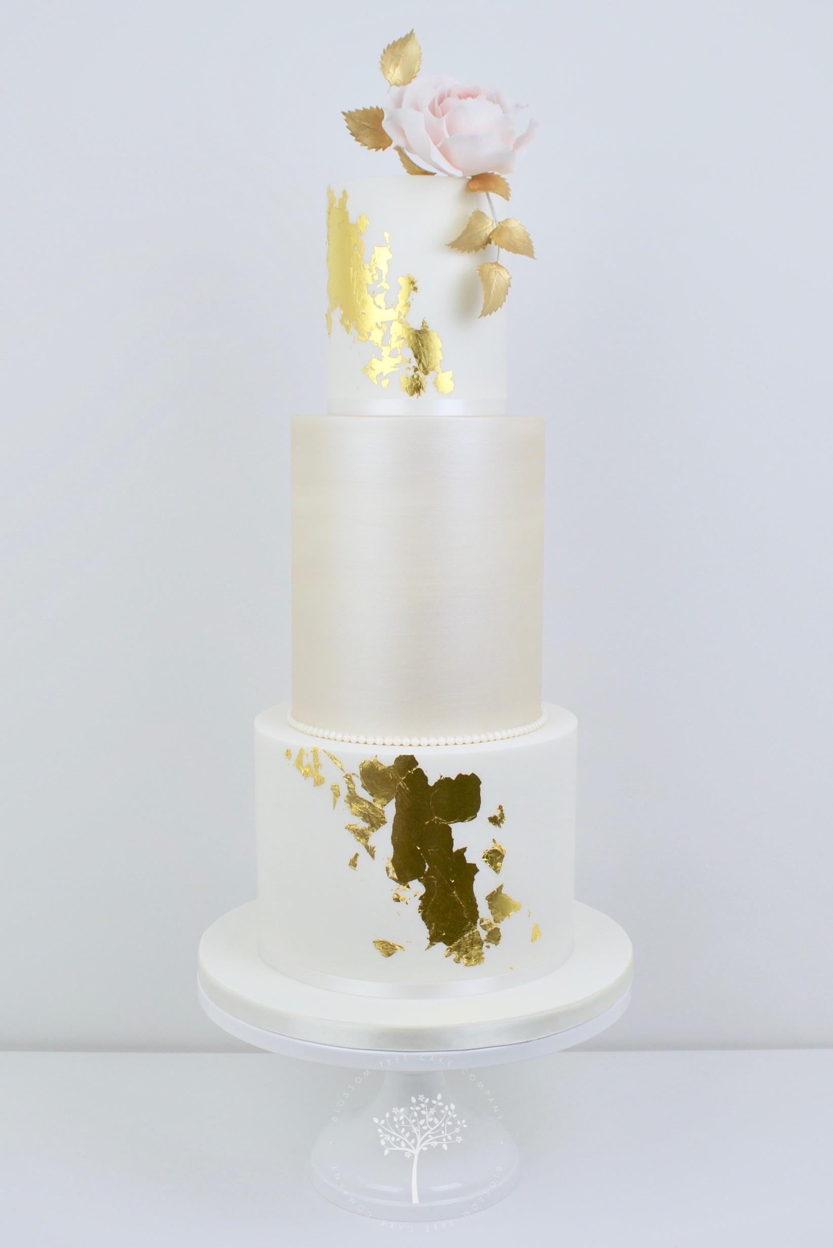 Blush Rose and Champagne wedding cake by Blossom Tree Cake Company Harrogate North Yorkshire.jpg