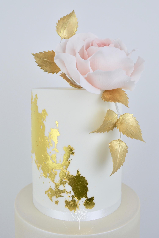 Dusky Blue and Peony wedding cake by Blossom Tree Cake Company Harrogate North Yorkshire - top flowers.jpg