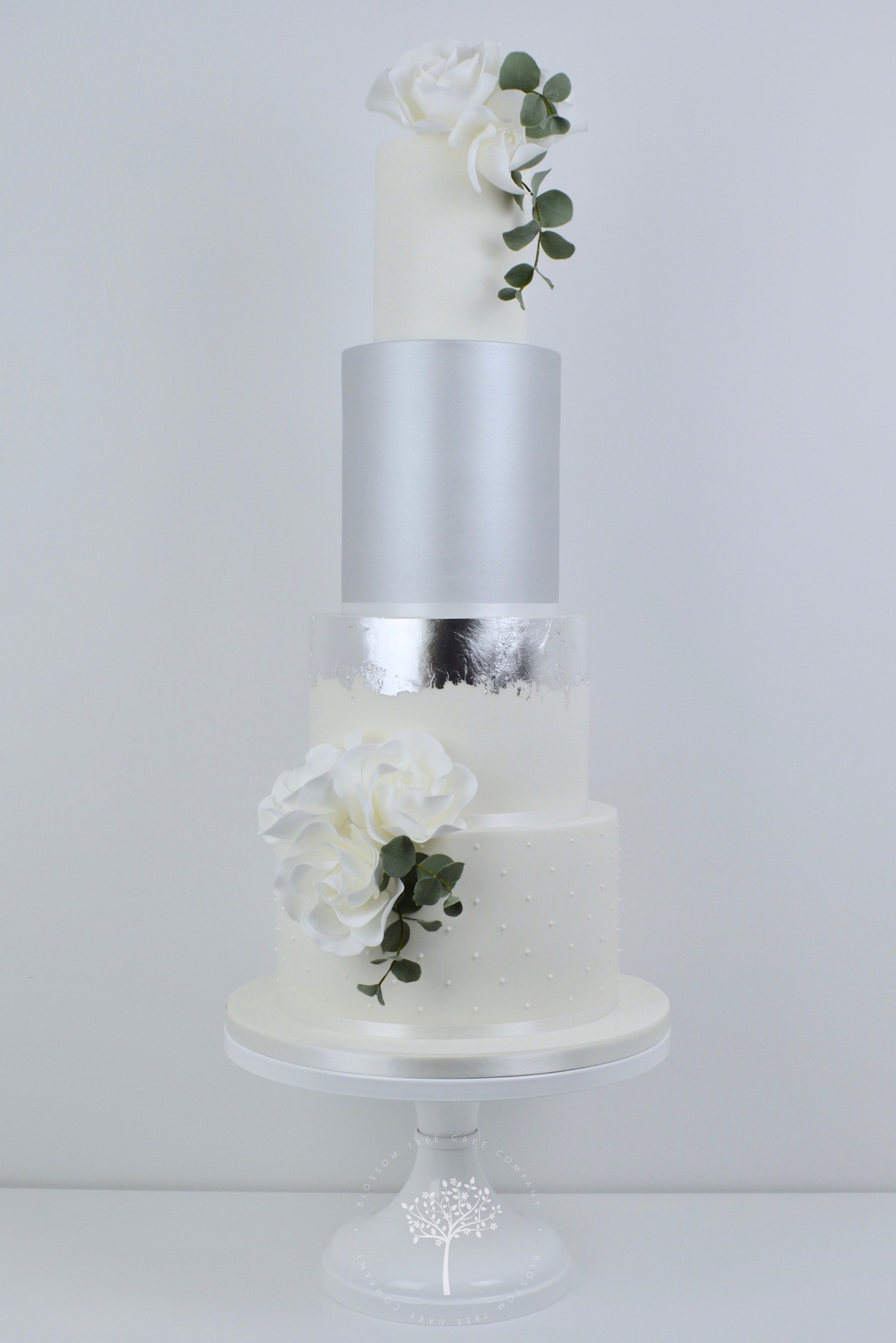 Roses and Silver Lustre wedding cake by Blossom Tree Cake Company Harrogate North Yorkshire.jpg