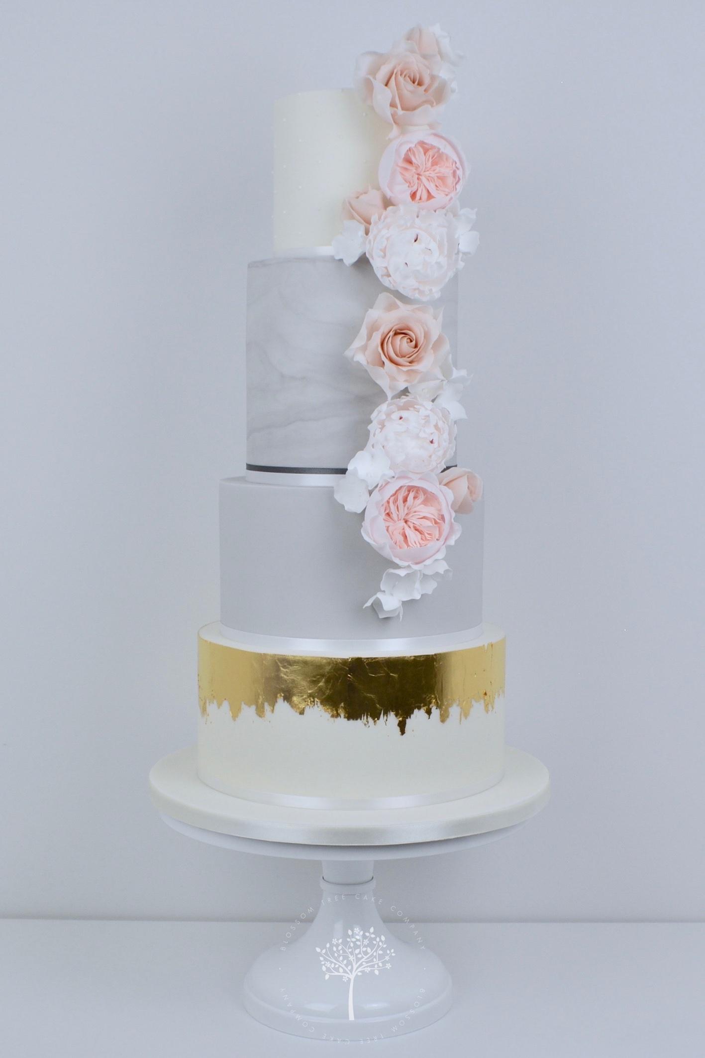 Nude Roses & Peony wedding cake by Blossom Tree Cake Company Harrogate North Yorkshire.jpg