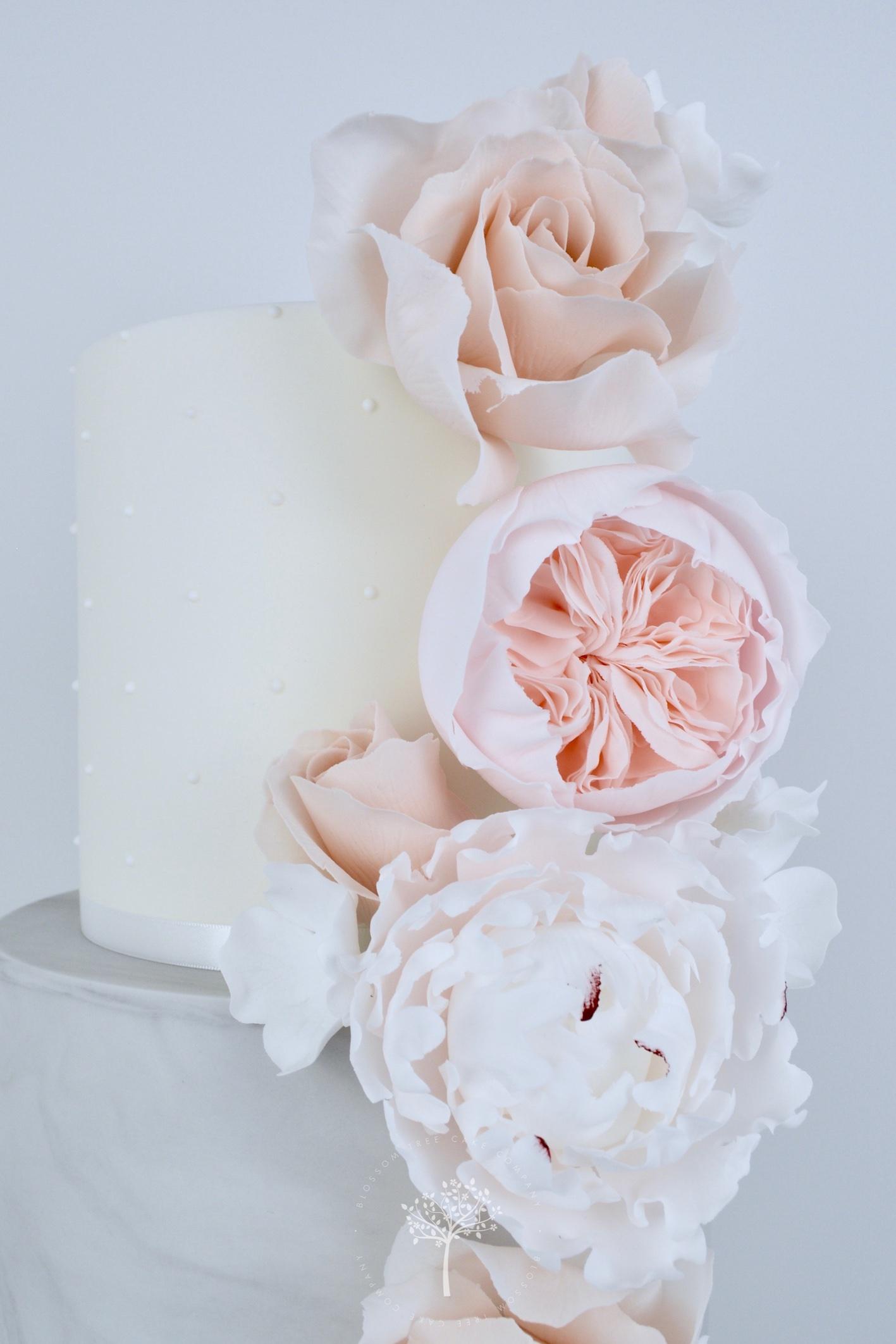 Nude Roses & Peony wedding cake by Blossom Tree Cake Company Harrogate North Yorkshire - top sugar flowers.jpg