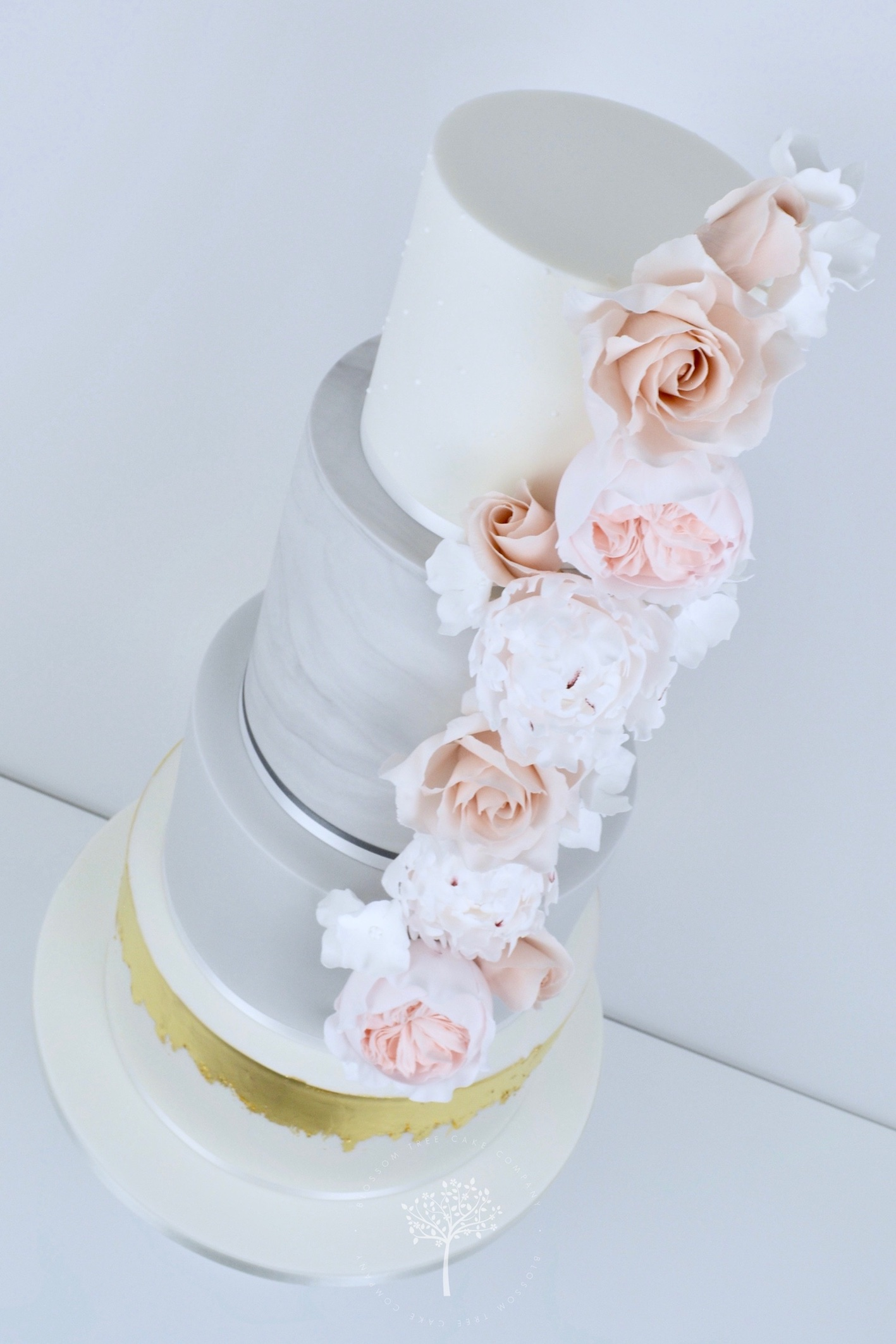 Nude Roses & Peony wedding cake by Blossom Tree Cake Company Harrogate North Yorkshire - angle.jpg