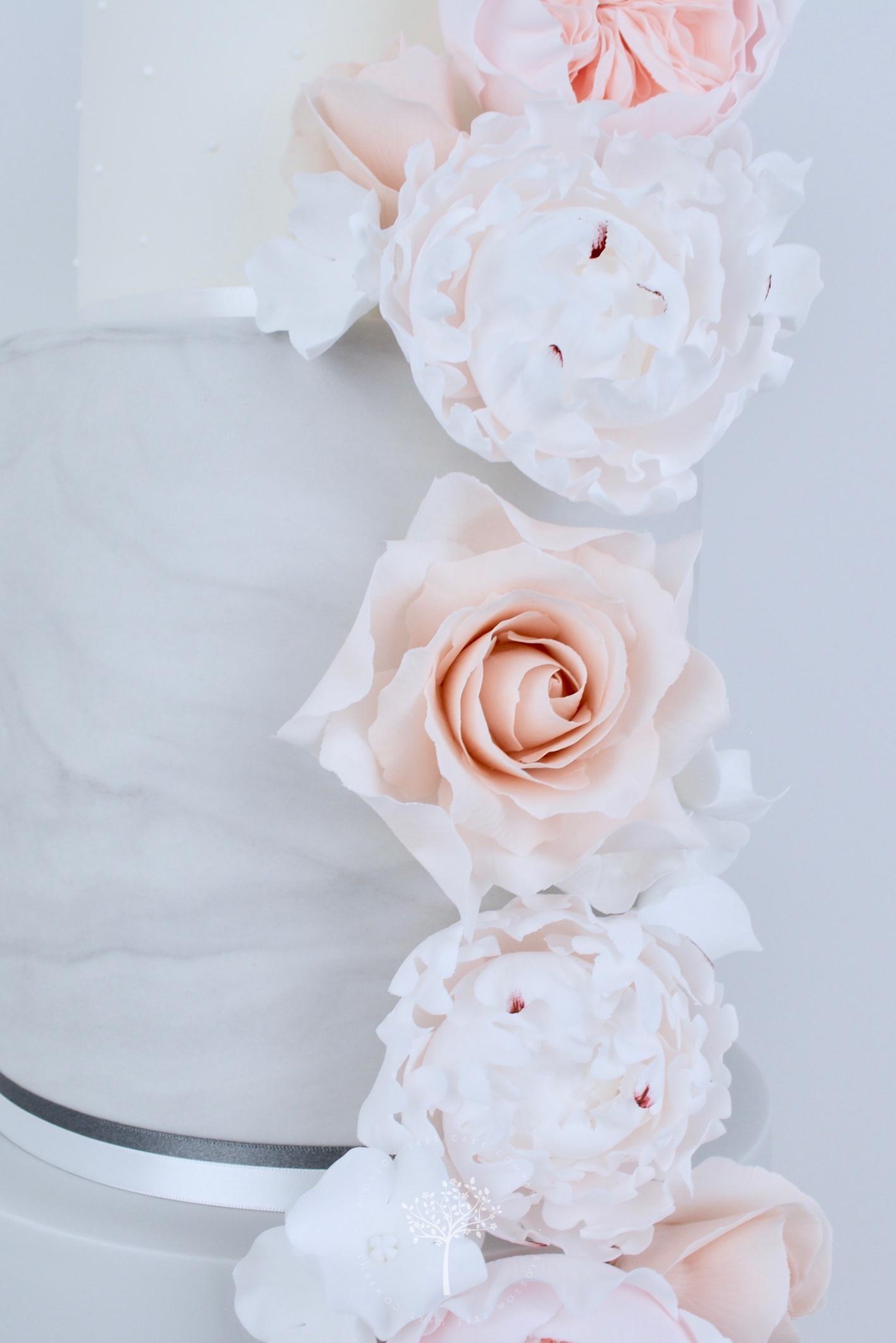Nude Roses & Peony wedding cake by Blossom Tree Cake Company Harrogate North Yorkshire - sugar gardenia peonies.jpg