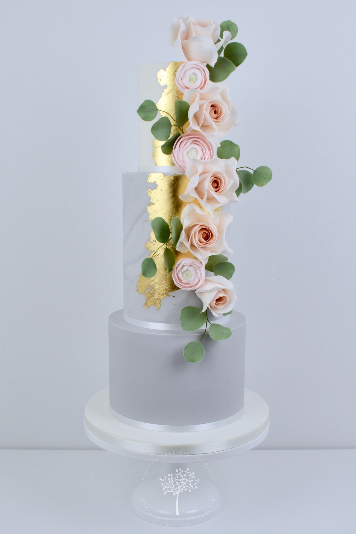 Rose Gold and Ranunculus wedding cake by Blossom Tree Cake Company Harrogate North Yorkshire.jpg