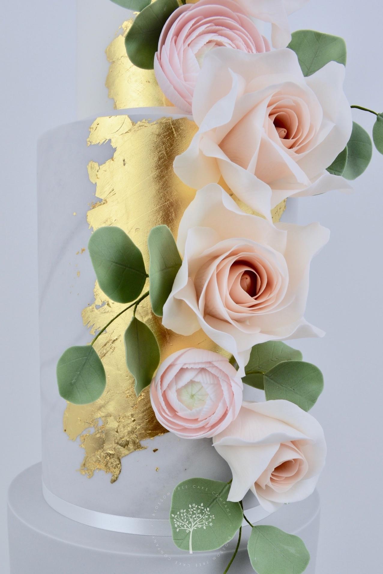Rose Gold and Ranunculus wedding cake by Blossom Tree Cake Company Harrogate North Yorkshire - sugar flowers.jpg