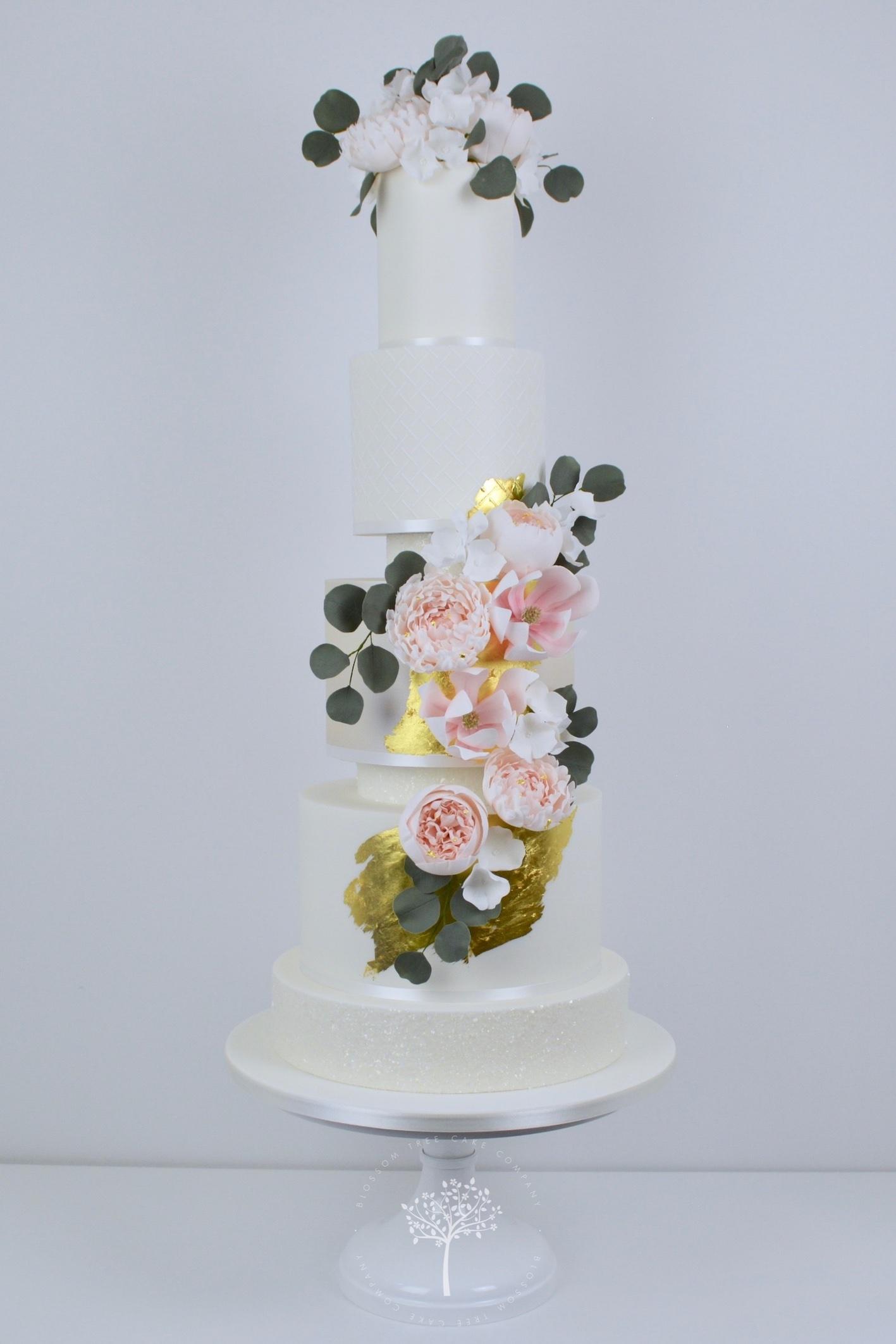Peony and Magnolia Wedding Cake by Blossom Tree Cake Company Harrogate North Yorkshire - website.jpg