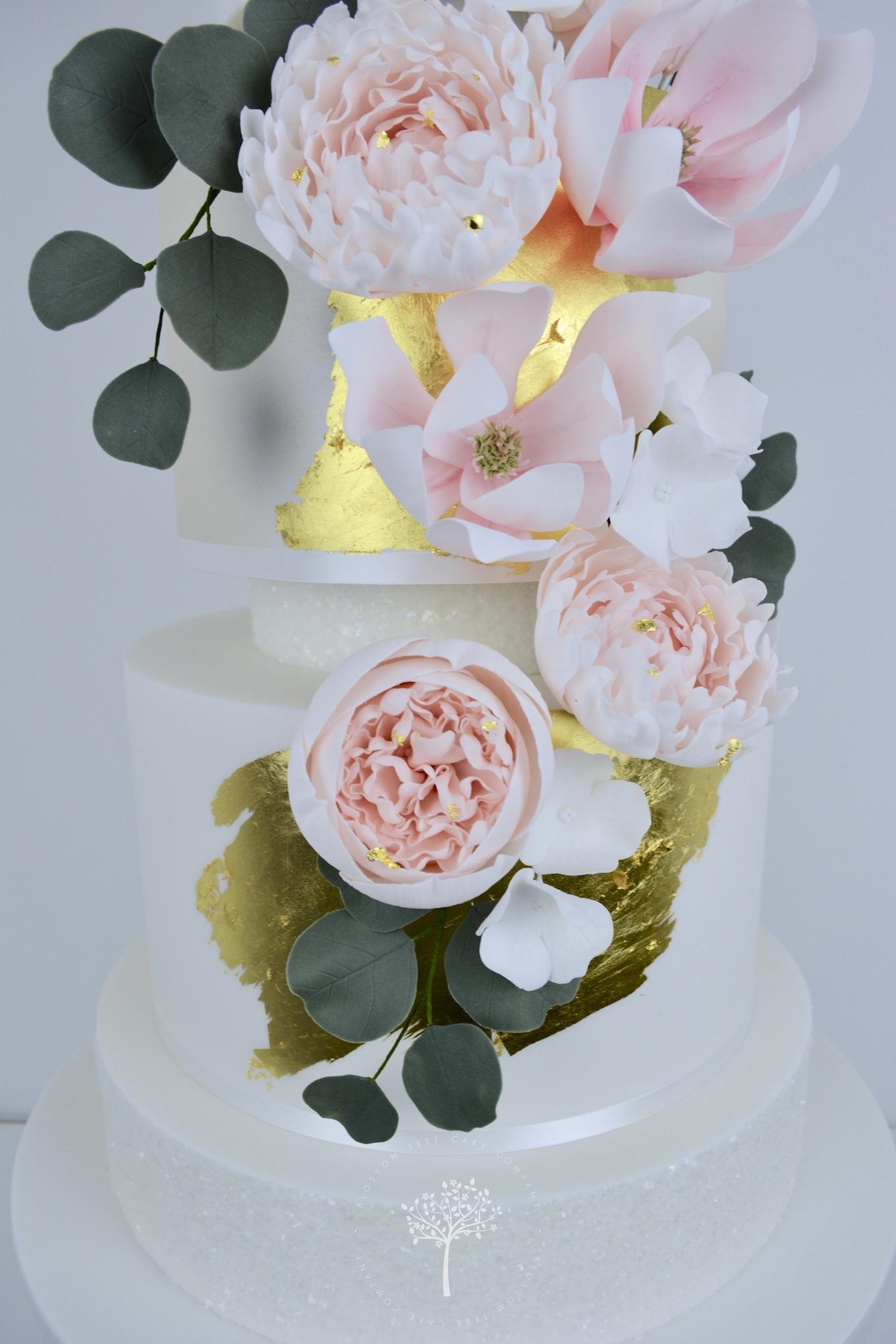 Peony and Magnolia Wedding Cake by Blossom Tree Cake Company Harrogate North Yorkshire - sugar peonies and magnolias.jpg