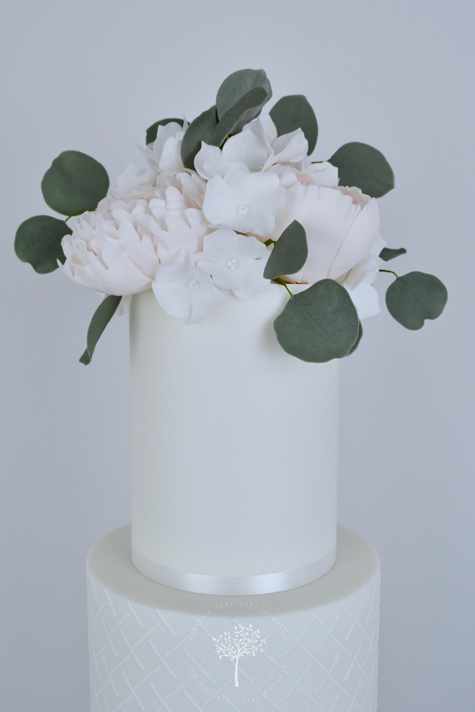 Peony and Magnolia Wedding Cake by Blossom Tree Cake Company Harrogate North Yorkshire - top sugar flowers.jpg