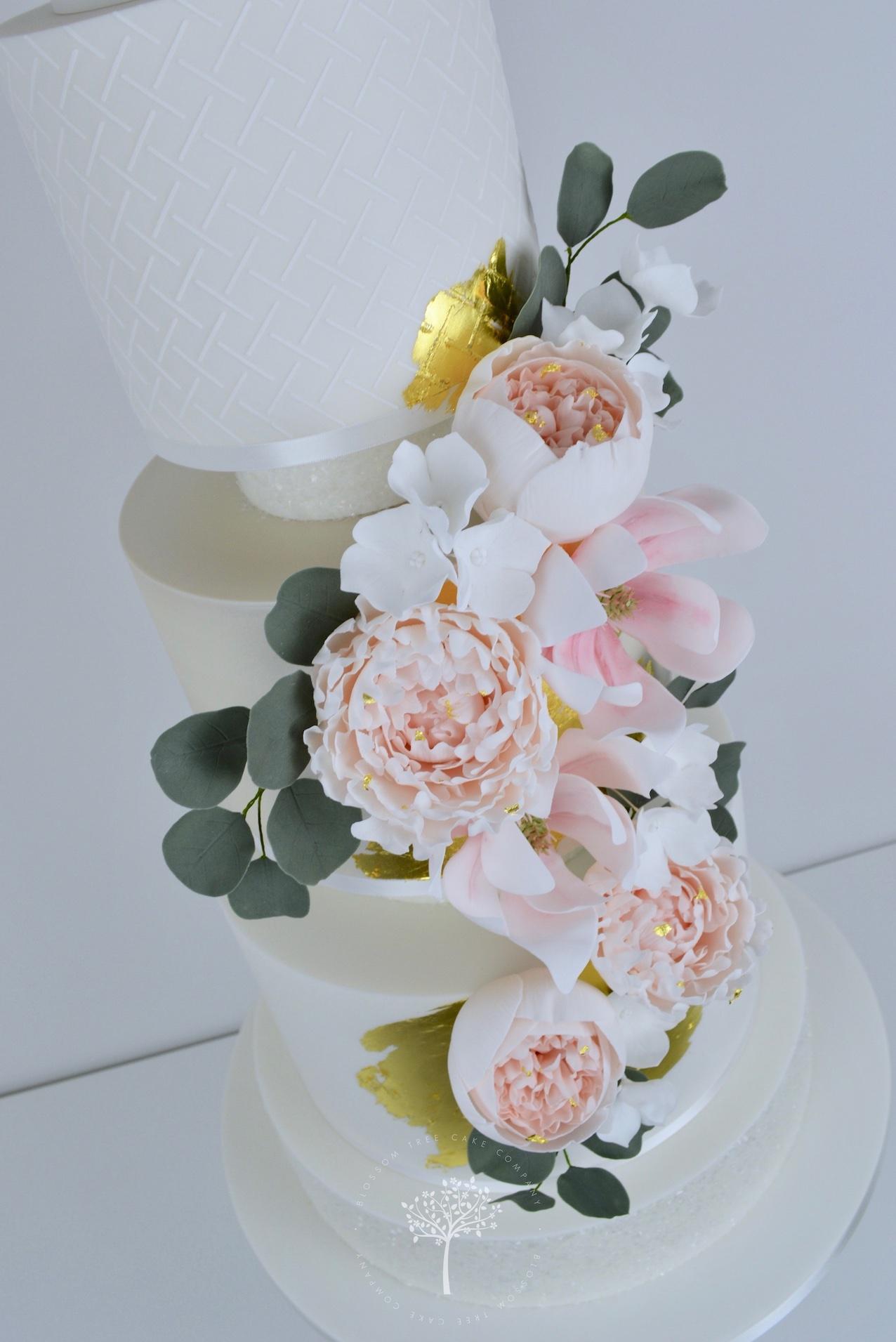 Peony and Magnolia Wedding Cake by Blossom Tree Cake Company Harrogate North Yorkshire - angle.jpg