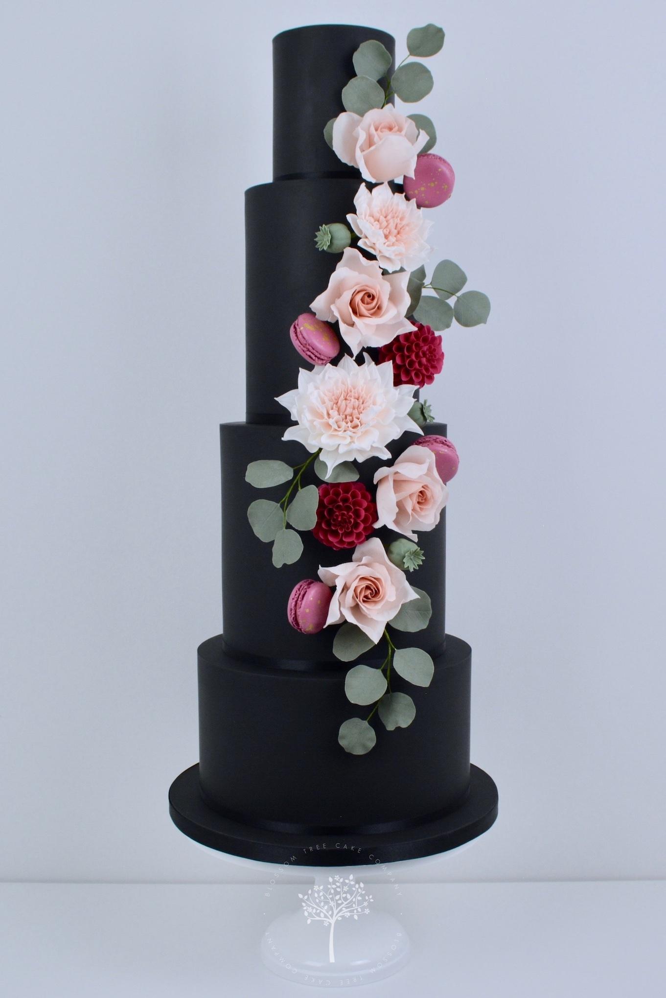 Dahlia & Black wedding cake by Blossom Tree Cake Company Harrogate North Yorkshire.jpg