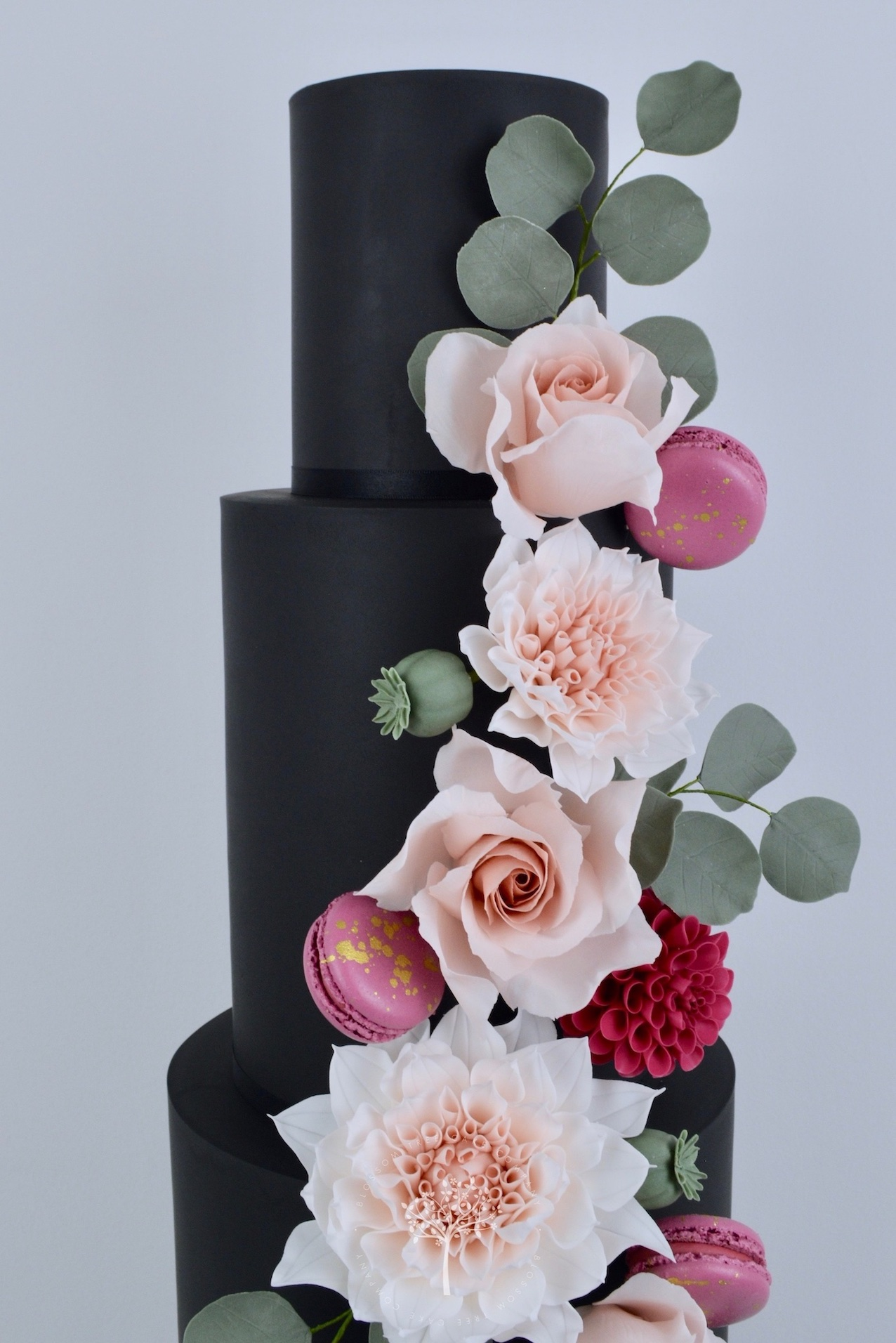 Dahlia & Black wedding cake by Blossom Tree Cake Company Harrogate North Yorkshire - top sugar flowers.jpg