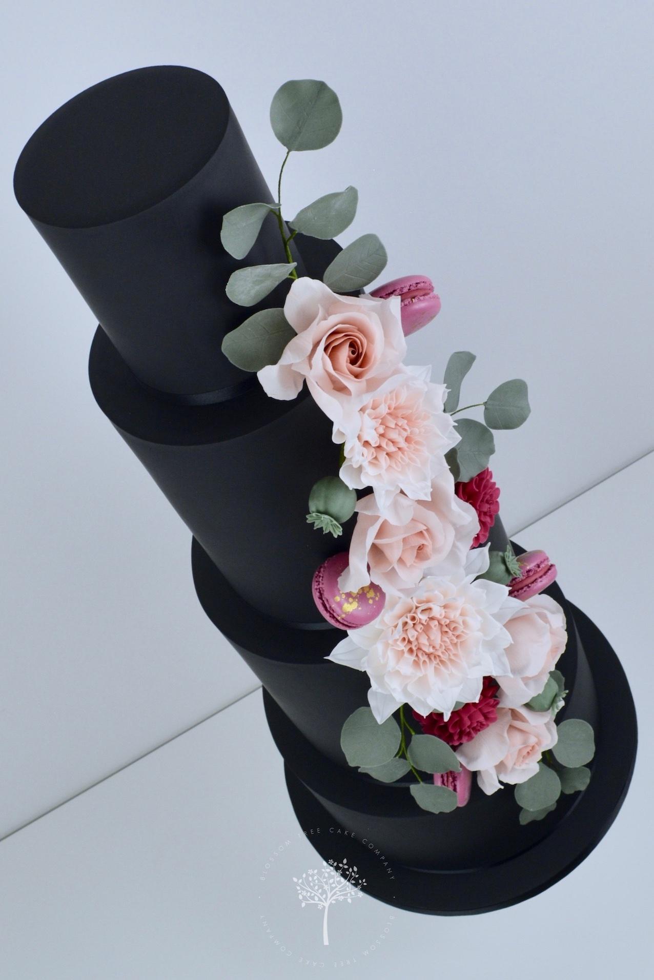 Dahlia & Black wedding cake by Blossom Tree Cake Company Harrogate North Yorkshire - angle.jpg