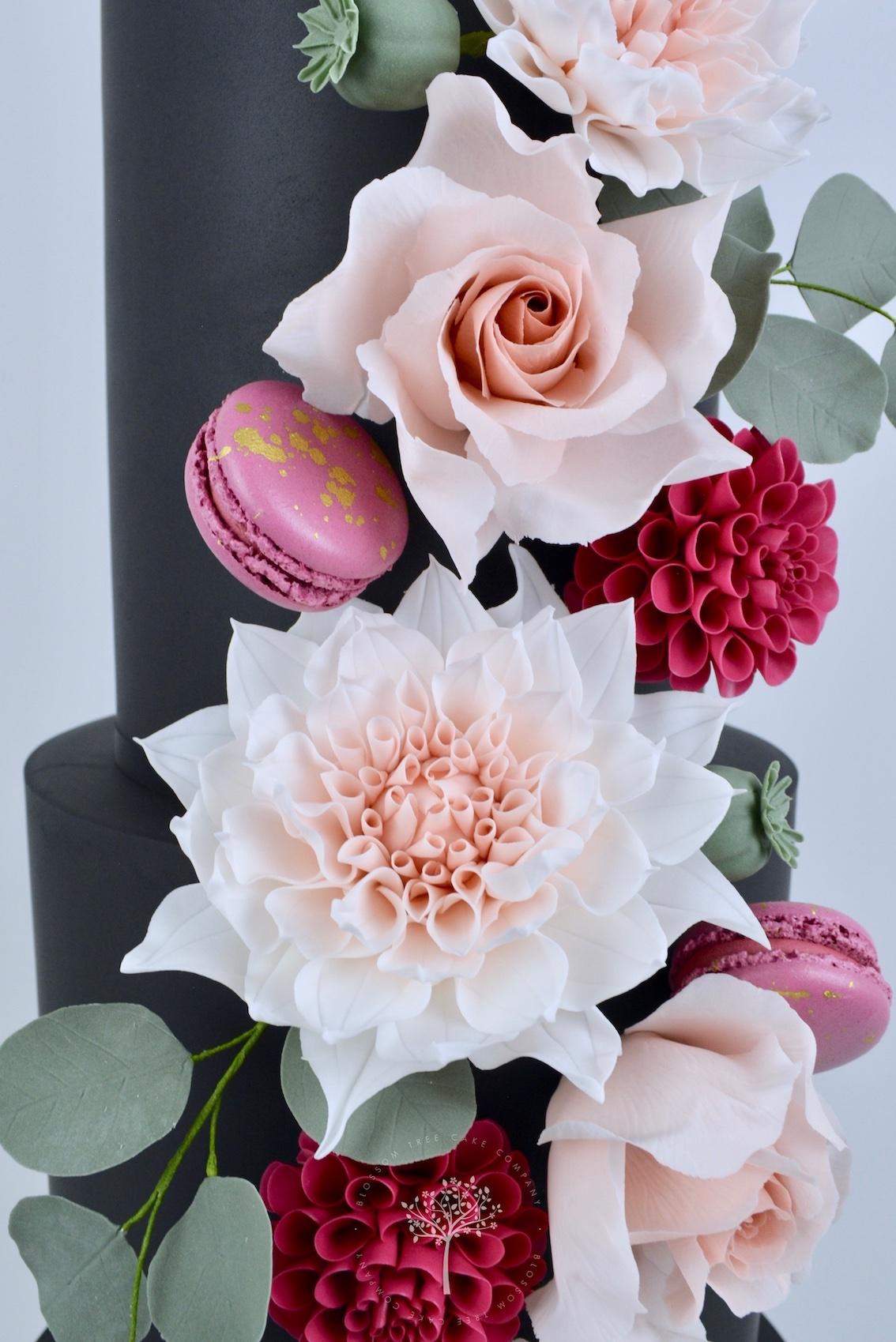 Dahlia & Black wedding cake by Blossom Tree Cake Company Harrogate North Yorkshire - sugar dahlias.jpg