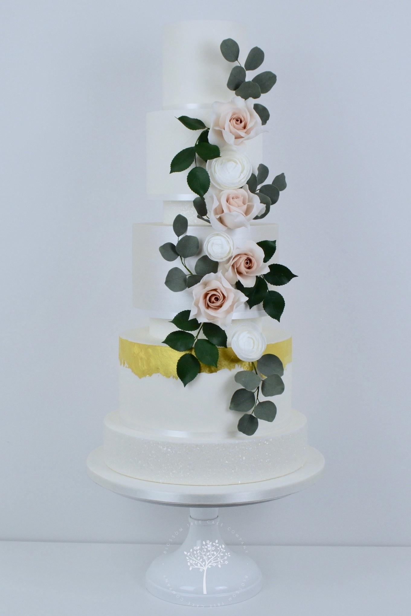 Rose & Ranunculus Cascade wedding cake by Blossom Tree Cake Company Harrogate North Yorkshire.jpg