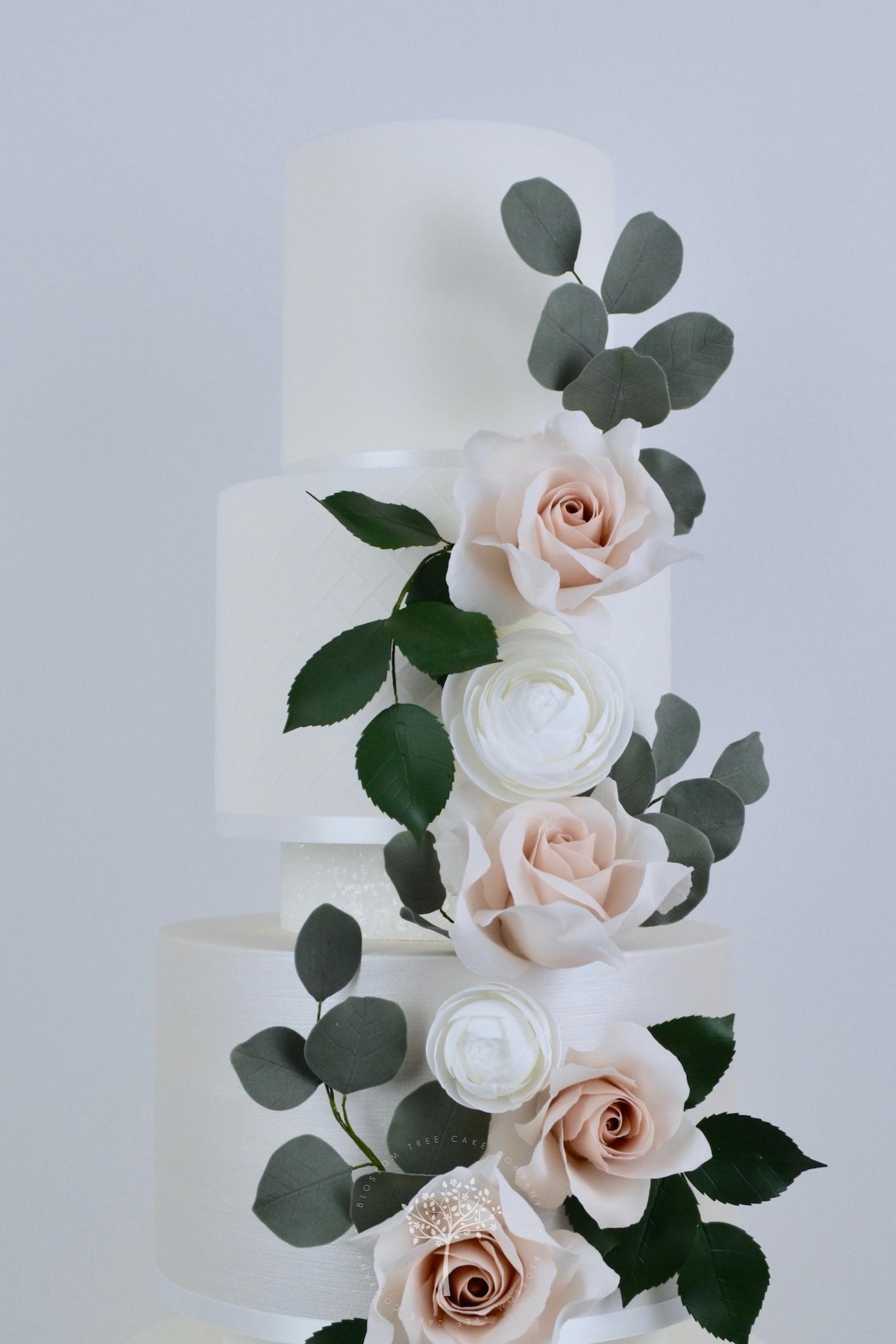 Rose & Ranunculus Cascade wedding cake by Blossom Tree Cake Company Harrogate North Yorkshire - top sugar flowers.jpg