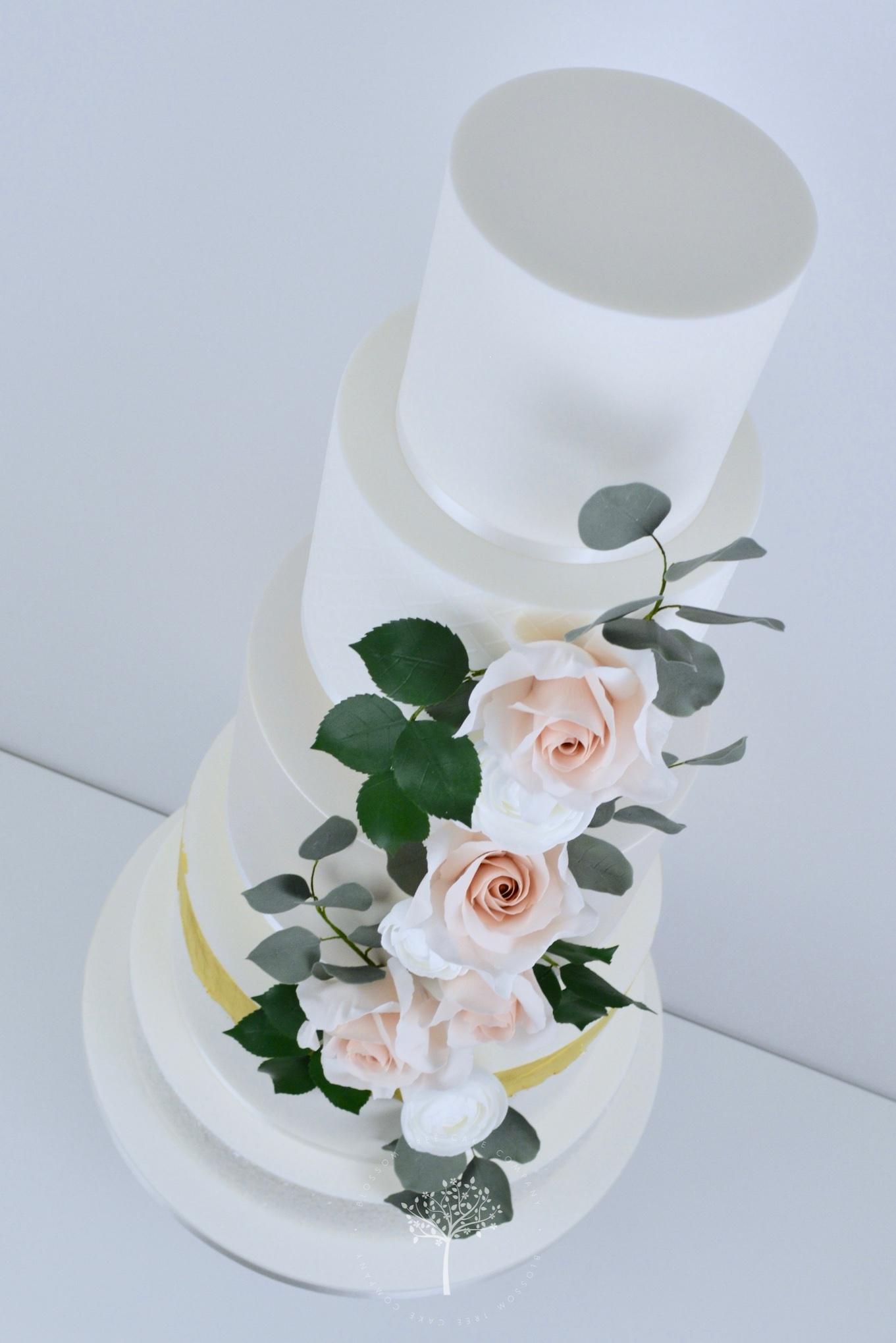 Rose & Ranunculus Cascade wedding cake by Blossom Tree Cake Company Harrogate North Yorkshire - angle.jpg